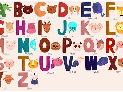 Alphabet Zoo Illustration name animal abc letter font write vector illustration zoo alphabet