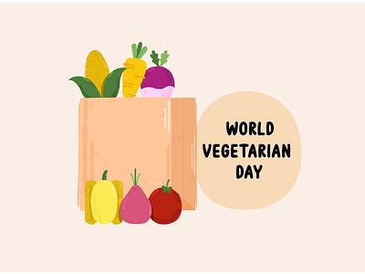 Shopping Bag with Vegetables Illustration fruit food vegetarian day celebration vector illustration vegetable bag shop