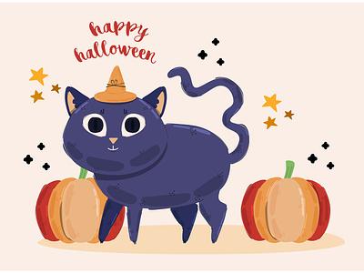 Halloween Cat Illustration background animal party pumpkin october celebration vector illustration cat halloween