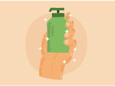 Hand Holding the Hand Sanitizer Illustration lifebuoy campaign hygiene wash body bath vector illustration sanitizer hand