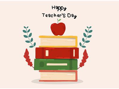 Teacher's Day Illustration (3) greeting celebration education class apple school vector illustration day teacher