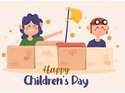 Children's Day Illustration background character happy november greeting celebration vector illustration day children