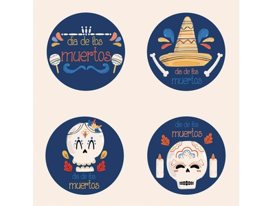 Day of the Dead Labels Collection Illustration mexico november celebration holiday badge vector illustration label dead day