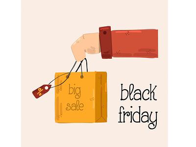 Black Friday Shopping Bag Illustration mall sale day november vector illustration bag shopping friday black