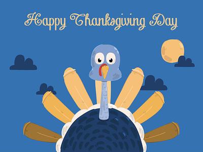 Thanksgiving Day with Cartoon Turkey Illustration november celebration holiday background vector illustration turkey cartoon day thanksgiving