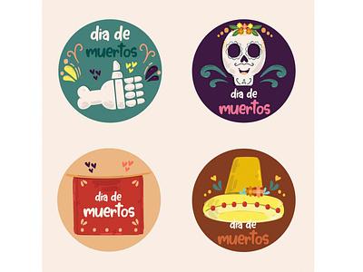 Day of the Dead Labels Illustration mexico november celebration holiday badge vector illustration label dead day
