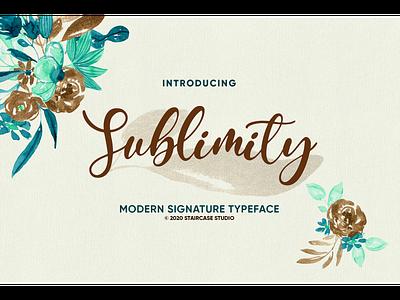 Sublimity Font handwritting logotype birthday wedding invitation branding fonts font signature modern script sublimity