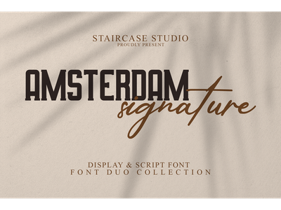 Amsterdam Signature Font Duo foundry foodies cosmetic typeface logotype branding display fonts font duo script signature amsterdam