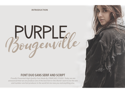 Purple Bougenville Font Duo cosmetic invitation clothing typewriting logotype branding sans serif script fonts font duo purple boufenville