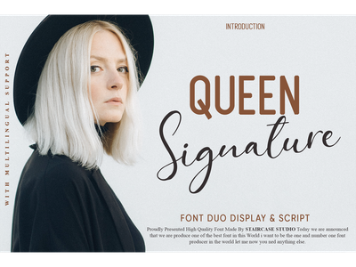 Queen Signature Font Duo fashion foundry invitation clothing typewriter logotype branding display fonts font duo script signature queen