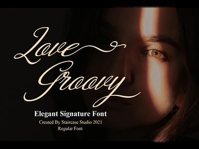 Love Groovy Font typewriter logotype branding calligraphy elegant script signature font love groovy