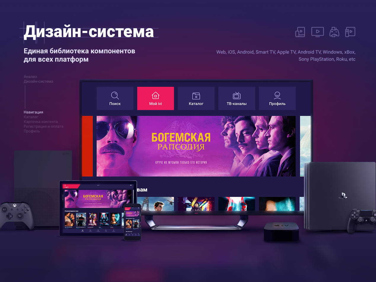 ivi online cinema | reDesign android ios ps4 appletv xbox design system smarttv ui ivi