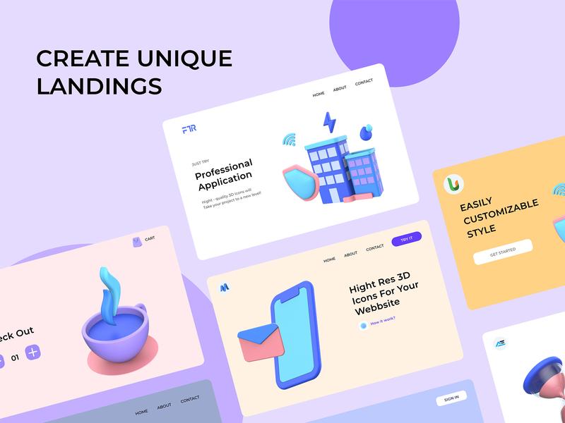 Create a Unique Landing Page with 3D Icon Pack shield wallet render money isometric illustration icon finance fingerprint digital business bank 3d