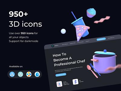 950+ 3D Icon Pack keyshot c4d market digital wallet finance financial illustraion iconography icon set icon render 3d illustration 3d icon 3d