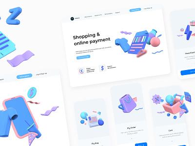 Shopping 3D Illustrations Part 2 render banking ui payment digital wallet ewallet wallet 3d finance