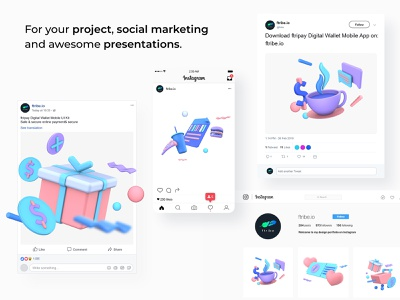 Shopping Promotion 3D Illustrations managerment drink payment digital wallet ewallet wallet 3d finance
