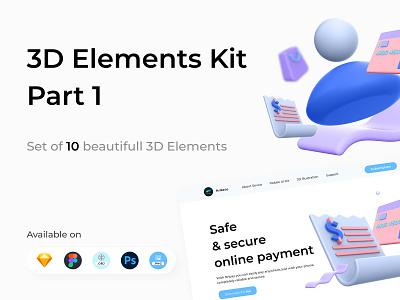 3D Elements Kit - Part 1 face bill atm account render payment digital wallet ewallet wallet 3d finance