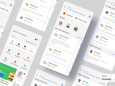 Grocery - Dasun Wallet Mobile Ui Kit grocery store food shopping finance app ux design ui design mobile app design banking ui payment ewallet finance digital wallet