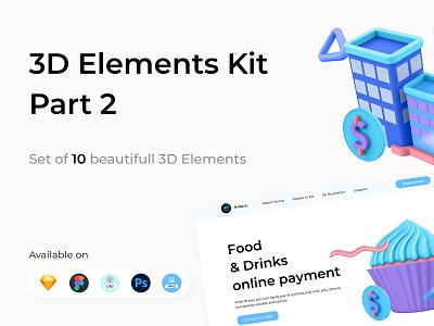 3D Elements Kit - Part 2 obj psd figma sketch copy card 3d