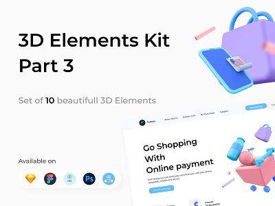 3D Elements Kit - Part 3 elements illustraion obj psd figma sketch fruit