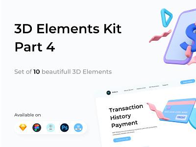 3D Elements Kit - Part 4 elements illustration obj psd figma sketch eye exit cup phone mobile dollar creditcard credit clover close clock 3d