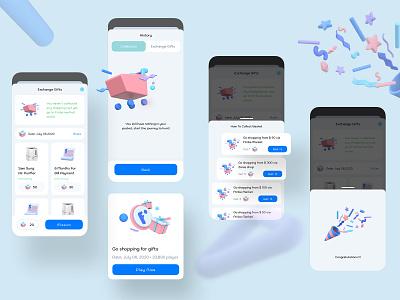 Play Game and Change Gift eWallet App shopping gift game ux design ui design mobile app design banking 3d payment digital wallet ewallet wallet finance