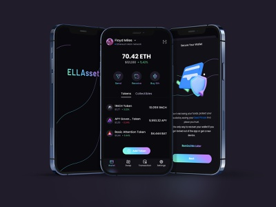 ELLAsset Mobile Crypto DeFi Wallet collectibles nft asset management defi receive send buy seed phrase decentralized swap tokens defi wallet wallet token exchage crypto cryptocurrency