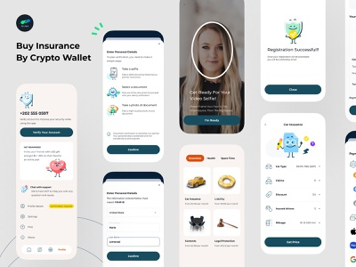 Buy Insurance by Crypto Mobile App Design insurance app insurance legal protection car insurance mobile ui finance app ux design ui design mobile app design digital wallet ewallet finance
