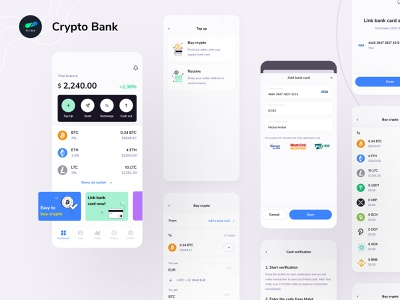 Crypto Banking Mobile App altcoins ethereum bitcoin cryptocurrency crypto bank finance app ux design ui design mobile app design banking payment digital wallet ewallet wallet finance