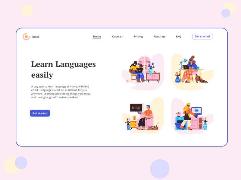 Main Page for Online Language Courses graphic webdesign web design web uiux ui languages course art language 2020 design illustration app