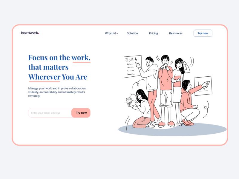 Redesign Mainpage for Teamwork website mobile ui mobile app mobile graphic business teamwork web uiux ui illustraion web design website art app 2020 trends 2020