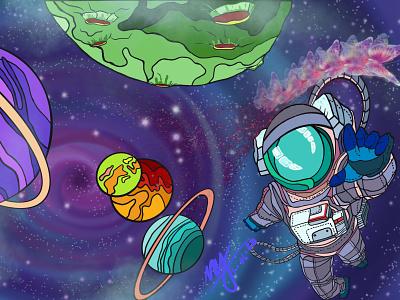 Life in outer space 🦋 digital illustration t-shirt print t-shirt design illustration design planets galaxy art astronaut outer space designer procreate x5 illustrator artwork artist digital art art lovers artist support procreate illustration design art