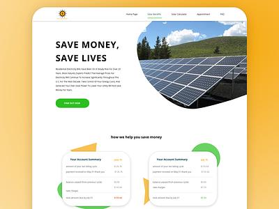 Solar website UI/UX design solar services ui  ux ui uiux web design website design ui design ux design