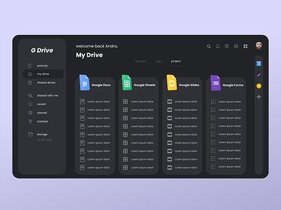 google drive dashboard redesign - dark mode dashboard design dashboard ui ui  ux web design website design ux design ui design