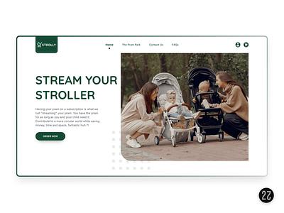 Rent Strollers – Stroller Website UI/UX Design child product landing page newborn baby parents ecommerce rental rent stroller design website design web design ui ui  ux ux design ui design