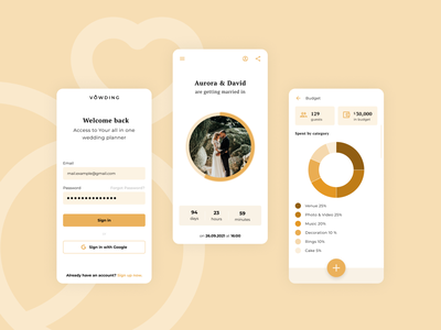Vowding - Wedding Planning App mobile app mobile design flat design planner app wedding ui design ux design