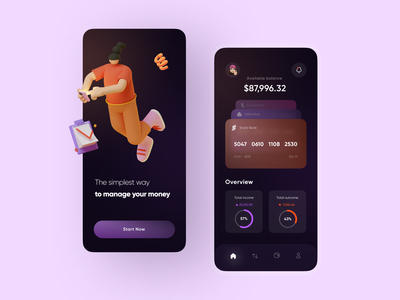 Finance mobile app mobile banking fintech money dark mobile banking app uxui wallet financial finance uidesign ui