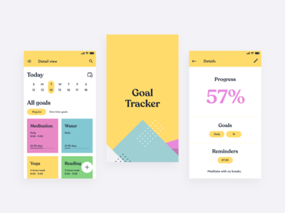Android Application design for goal tracking android ui kit mobile design mobile material design material ui web design ui ux android app
