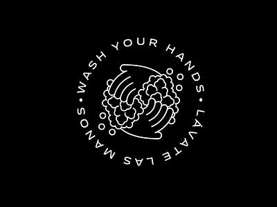 Wash Your Hands hands type flat coronavirus illustrator minimal icon vector illustration logo design