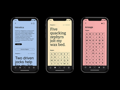 Some for screens of Fonting. Soon the whole project 👀 color design user interface prototype user experience design typography ui graphicdesign
