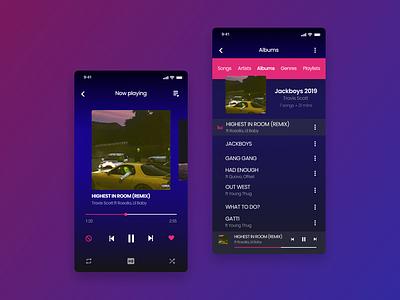Music Player App ui  ux mobile app ios album song app player design music player music