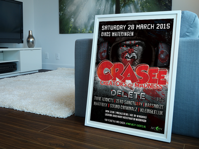 Crasee Flyer  crasee flyer poster hardstyle rawstyle freestyle holland delete monkey angry artwork print design