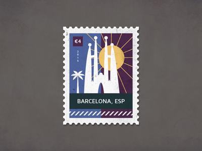 Post Stamp Barcelona spain sagrada familia illustrator illustration poststamp postcard card barcelona stamp post