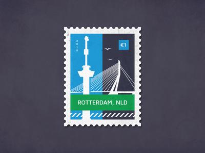 Post stamp Rotterdam bridge erasmusbrug letter the netherlands rotterdam euromast poststamp postcard card stamp post