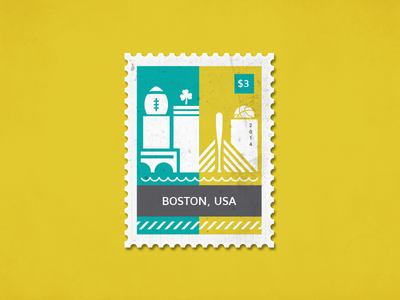 Post stamp Boston sports usa boston illustrator illustration poststamp letter card stamp post