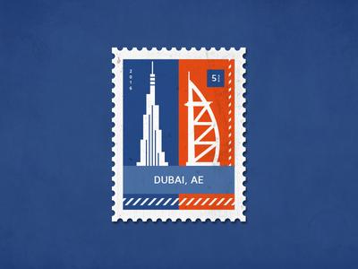 Post stamp Dubai towers burj khalifa skyline icons illustrator illustration burj al arab letter stamp poststamp dubai