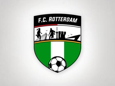 FC Rotterdam Logo the netherlands rotterdam colors soccer illustrator football shield skyline rotterdam skyline logo football club football rotterdam