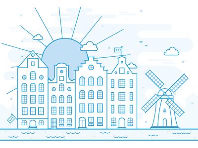 Amsterdam Postcard vector city line art buildings netherlands holland canalhouses windmill illustration postcard amsterdam