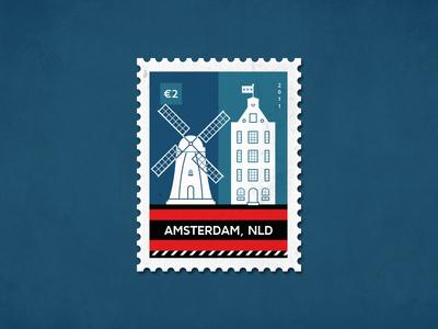 Post stamp Amsterdam typical dutch amsterdam flag holland dutch canalhouse windmill amsterdam poststamp stamp