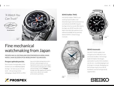 Retail Spreadpage Design Seiko indesign retail brochure spread page promotional flyer brochure watches seiko print design magazine retail print